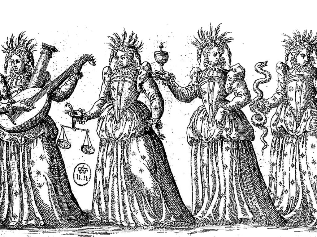 A black and white illustration of four women representing the four virtues, from Le Ballet-Comique de la Reine