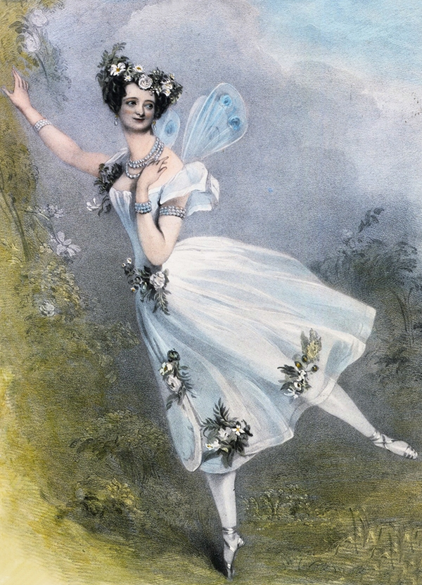 Painting of Marie Taglioni dancing on pointe, wearing wings