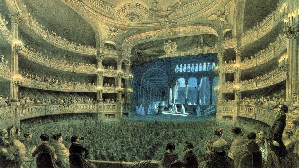 "Painting of a theatre, 19th century ballet ""Dance of the Dead Nuns"" being performed"