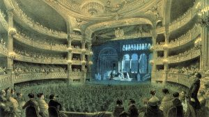 """Painting of a theatre, 19th century ballet """"Dance of the Dead Nuns"""" being performed"""